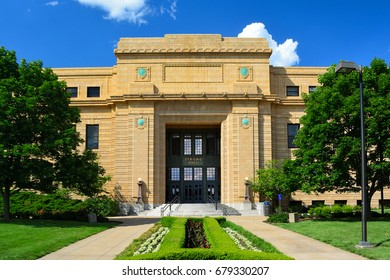 Strong Hall at the University of Kansas in Lawrence, Kansas on a Sunny Day