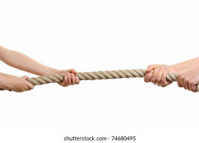 strong hands pulling a rope to win