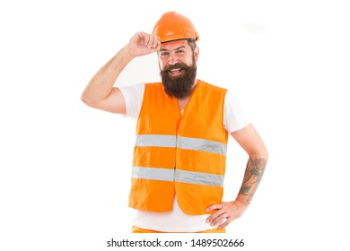 Strong handsome builder. Creating solid foundation. Man protective hard hat and uniform white background. Worker builder confident and successful. Protective equipment concept. Builder enjoy success.