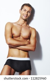 Strong handsome fitness sports man in underwear. Strong handsome fitness sports man in underwear