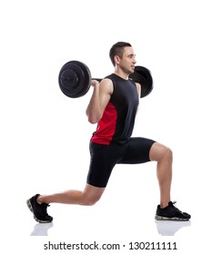 Strong and handsome man lifting weights