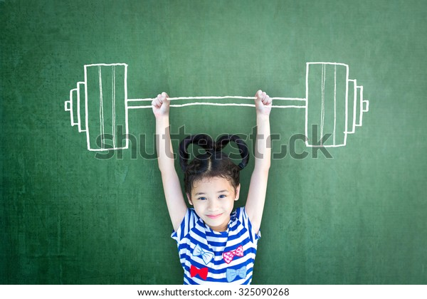 Strong kid weight lifting for empowering woman gender-children rights, equal opportunity awareness in education,  international day of girl child, and sports for development and peace conceptual idea