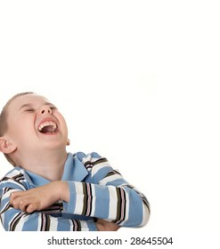 Strong laughter of the boy on a white background