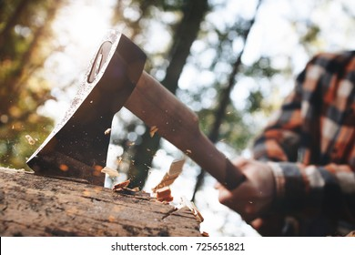 Strong lumberjack in plaid shirt chops tree in wood with sharp ax, close up axe, wood chips fly. Horizontal, blurred Background