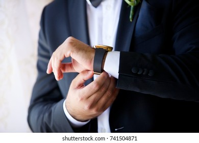 strong male hands with objects