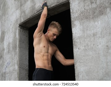 Strong man with athletic body