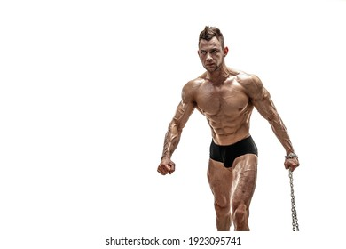 Strong Man with chain in studio on white background.