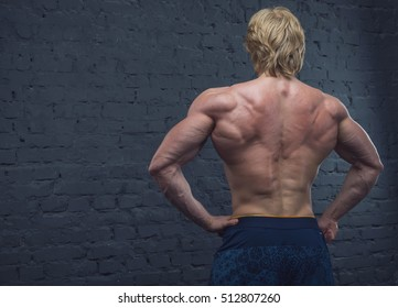 Strong man. Close up of male muscular body view from the back.