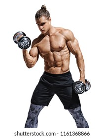 Strong man doing exercises with dumbbells at biceps. Photo of young man with naked torso isolated on white background. Strength and motivation.