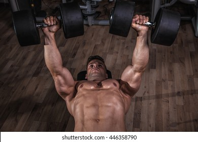 Strong man in the gym.