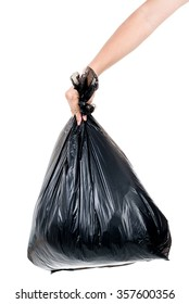 Strong man hand carry garbage in plastic bag for eliminate on the white background