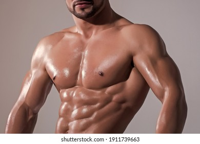 Strong man or muscular men. Sexy male bare torso. Metrosexual mans naked. Shirtless athletic hot naked guy