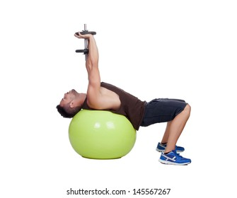 Strong man practicing exercises with dumbbells sit on a ball isolated on white background