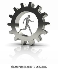 Strong man running in metal gear �¢?? business concept