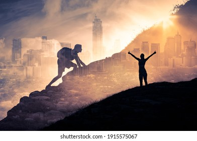 Strong man and woman climbing up mountain overcoming obstacles. Never give up, power and strength concept.  Double exposure.