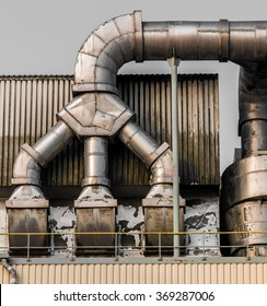 Strong Metallic pipes on heavy industrial look. Old, dirty and monochromatic look.