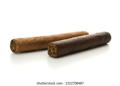 Strong and mild cigars isolated on white background