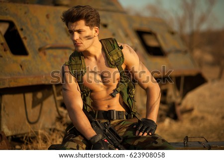 cc50e918f5d Strong Military Man Weapon Looking Aside Stock Photo (Edit Now ...