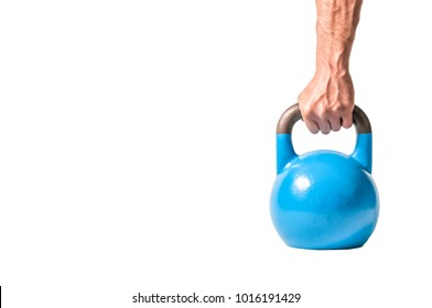 Strong muscular man hand with muscles holding blue heavy kettlebell partially isolated on white background