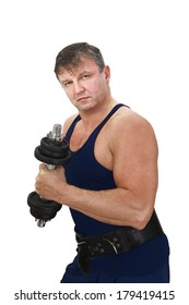 7eee371d35ca Strong muscular man in shirt with bare arms with barbell in hand isolated  on white background