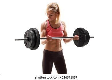 Strong muscular woman exercising with a barbell isolated on white background