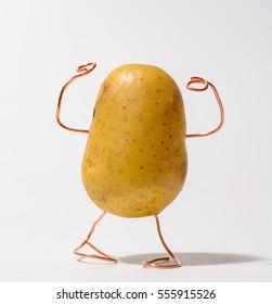 Strong potato posing like a fitness model