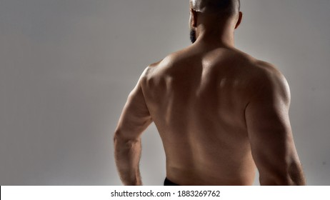 Strong and powerful. Blacked figure of young handsome caucasian bodybuilder making most muscular back pose standing isolated over gray background, widescren. Sports, workout, bodybuilding concept
