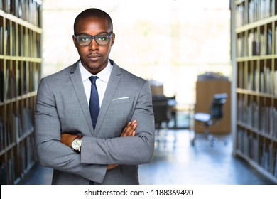 Strong powerful pose from lawyer at law practice with copy space