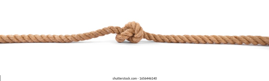 Strong Rope with a Knot on white Background