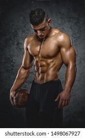 Strong, Shirtless American Football Player