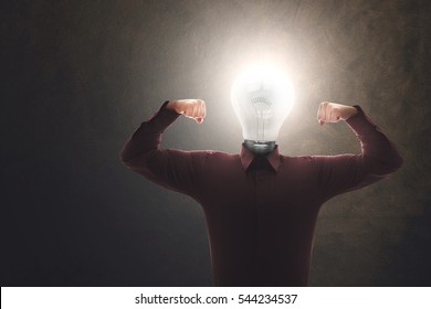 strong and skilled creative man with bulb on his head