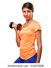 strong sport woman with dumbbell