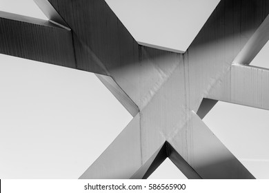 Strong steel beams welded together at sharp angles