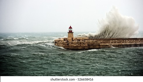 Strong storm on the lighthouse