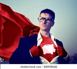Strong Superhero Success Professional Empowerment Stock Concept