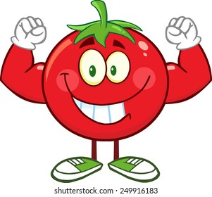 Strong Tomato Cartoon Mascot Character Flexing. Raster Illustration Isolated On White