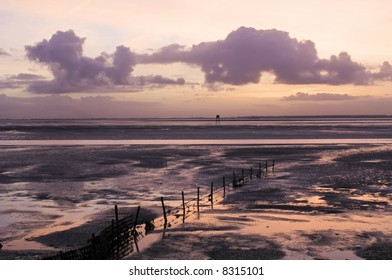 The strong tones of a winter sunrise over the salt lands at low tide, looking across a sea arm