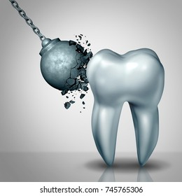 Strong tooth enamel and teeth strength dental or dentistry  symbol as a wrecking ball being demolished by a solid white molar as a medicine concept as a 3D render.