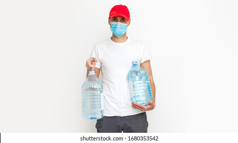 Strong water delivery man in protective mask. Isolated on white.