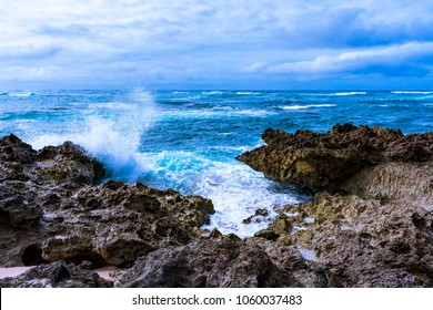 Strong waves, nice rocks and beautiful ocean at Alii Beach Park in Haleiwa town, the Northshore of Oahu island, Hawaii USA