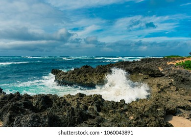 Strong waves, nice rocks and beautiful ocean at Alii Beach Park in Haleiwa town, the Northshore of Oahu Island, Hawaii, USA