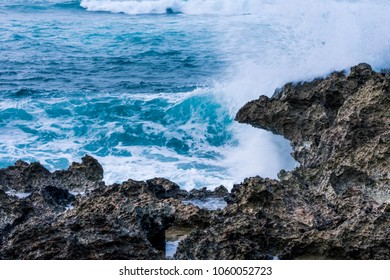 Strong waves,nice rocks and beautiful ocean at Alii Beach Park in Haleiwa town, the Northshore of Oahu Island, Hawaii USA