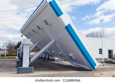 Strong wind blew down canopy of a gas station