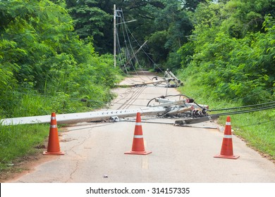 strong winds bringing down power lines to blame. transmission lines broken. close road
