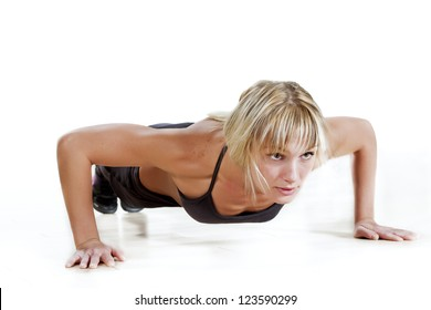 strong woman doing push-up