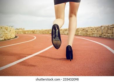 Strong woman running