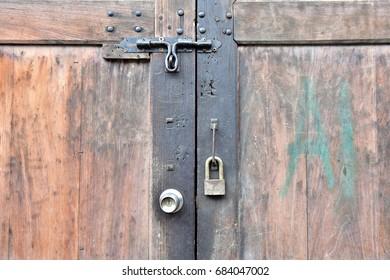 Strong wooden door with door knob