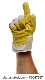 Strong worker hand glove finger pointing up