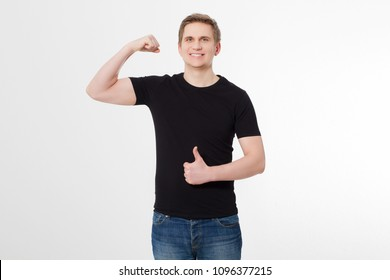 Strong Young man wearing blank t-shirt isolated on white background. Thumb up. Copy space. Place for advertisement. Front shirt view. Summer clothes