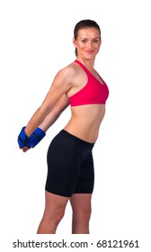 strong young woman in fitness clothes exercise with wrist weights